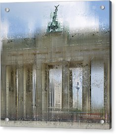 City-art Berlin Brandenburg Gate Acrylic Print by Melanie Viola