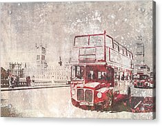 City-art London Red Buses II Acrylic Print by Melanie Viola