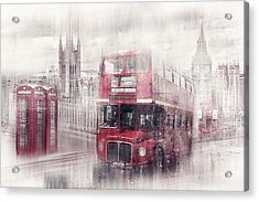 City-art London Westminster Collage II Acrylic Print by Melanie Viola