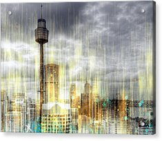City-art Sydney Rainfall Acrylic Print by Melanie Viola
