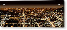 Acrylic Print featuring the painting City At Night by Shabnam Nassir