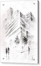 Acrylic Print featuring the drawing City Building by Fanny Diaz