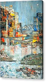City By The River - Sold Acrylic Print by Judith Espinoza