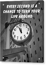 City Clock Quote-2 Acrylic Print by Rudy Umans