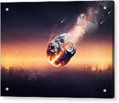 City Destroyed By Meteor Shower Acrylic Print by Johan Swanepoel