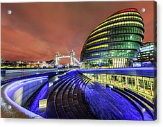 City Hall And Tower Bridge At Night Acrylic Print by Joe Daniel Price