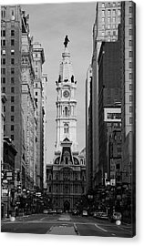 City Hall B/w Acrylic Print by Jennifer Ancker