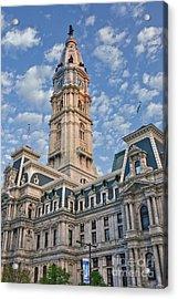 City Hall Clock Tower Downtown Phila Pa Acrylic Print by David Zanzinger