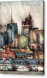 City - Hoboken Nj - New York Skyscrapers Acrylic Print by Mike Savad