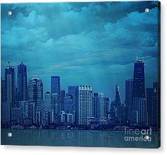 City In Blue Acrylic Print by Bedros Awak