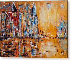 Acrylic Print featuring the painting City In Gold by Zeke Nord