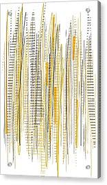 City Life- Yellow And Gray Art Acrylic Print by Lourry Legarde
