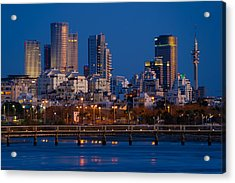 Acrylic Print featuring the photograph city lights and blue hour at Tel Aviv by Ron Shoshani