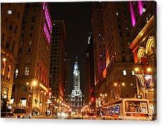 Philadelphia City Lights Acrylic Print by Christopher Woods