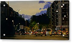 City Lights Oil On Canvas Acrylic Print