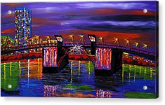 City Lights Over Morrison Bridge 6 Acrylic Print by Portland Art Creations