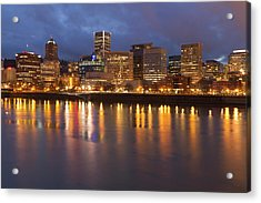 City Lights Reflected In The Willamette Acrylic Print