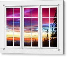 City Lights Sunrise View Through White Window Frame Acrylic Print