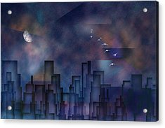 City Night Acrylic Print by Bruce Rolff