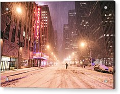 City Night In The Snow - New York City Acrylic Print by Vivienne Gucwa