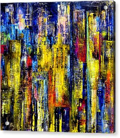 Acrylic Print featuring the painting City Nightime Metropolis by Katie Black