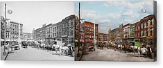City - Norfolk Va - Hardware And Liquor - 1905 - Side By Side Acrylic Print by Mike Savad