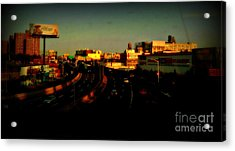 City Of Gold - New York City Sunset With Water Towers Acrylic Print by Miriam Danar