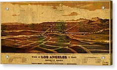 City Of Los Angeles California Vintage Birds Eye View City Street Map 1877 Acrylic Print