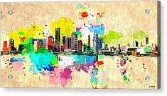 City Of Miami Grunge Acrylic Print by Daniel Janda