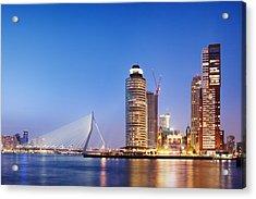 City Of Rotterdam Skyline In The Evening Acrylic Print