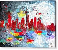 City Of Seattle Grunge Acrylic Print by Daniel Janda