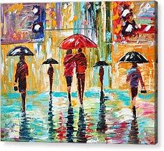 City Rain Acrylic Print by Karen Tarlton