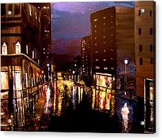 City Rain Acrylic Print by Mark Moore