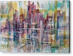 City Reflections Acrylic Print by Debbie Lewis