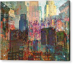 City Skyline Abstract Scene Acrylic Print by John Fish