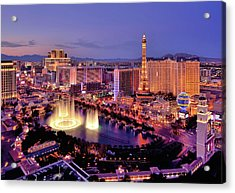 City Skyline At Night With Bellagio Acrylic Print by Rebeccaang