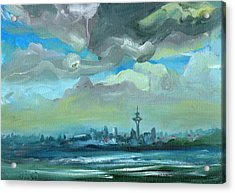City Skyline Impressionist Painting Acrylic Print