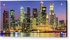 City Skyline - Singapore At Dusk 35mpix Acrylic Print by Hadynyah