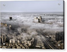 Acrylic Print featuring the photograph City Skyscrapers Above The Clouds by Ron Shoshani