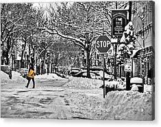 City Snowstorm Acrylic Print