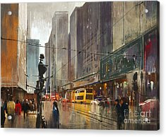 City Street Digital Acrylic Print by Tithi Luadthong