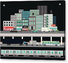City Street With Various Modes Of Acrylic Print
