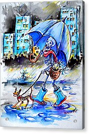 Acrylic Print featuring the painting City Stroll by Heather Calderon