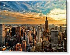 City Sunset New York City Usa Acrylic Print by Sabine Jacobs