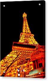 City - Vegas - Paris - Eiffel Tower Restaurant Acrylic Print by Mike Savad
