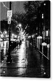 City Walk In The Rain Acrylic Print by Mike Ste Marie