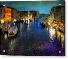 Acrylic Print featuring the photograph Cityscape #19. Venetian Night by Alfredo Gonzalez