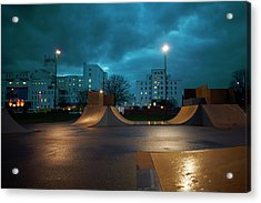 Cityscape And Skateboard Park At Night Acrylic Print by Peter Muller
