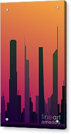 Cityscape Design Orange Version | Eps10 Acrylic Print