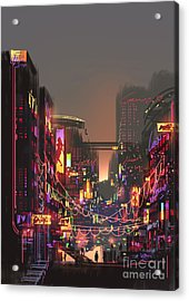 Cityscape Digital Painting Of Building Acrylic Print
